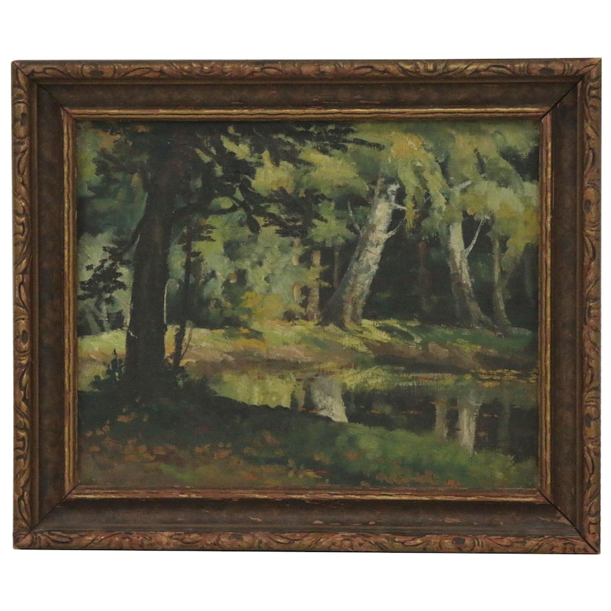Oil Painting of Lakeside Scene, Late 20th Century