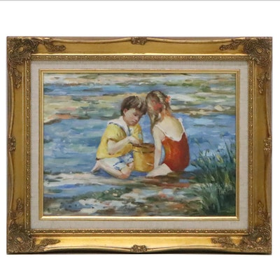 Oil Painting after Sally Swatland of Beach Scene, 20th Century