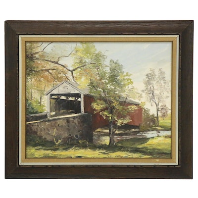 Marilyn Dwyer Oil Painting of Covered Bridge, Late 20th Century