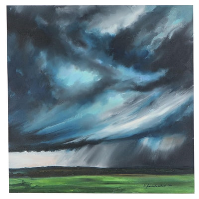 "Victor Kovalenko Oil Painting ""Rain on a Green Field"", 2020"