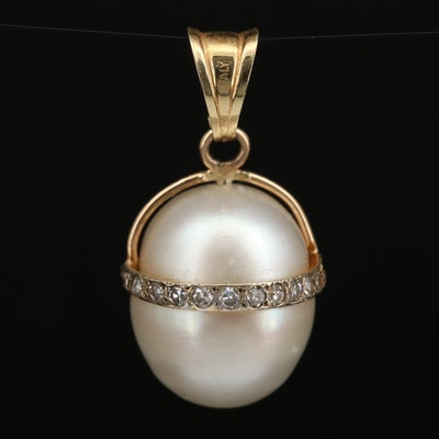 Vintage 14K Diamond and Pearl Drop Pendant