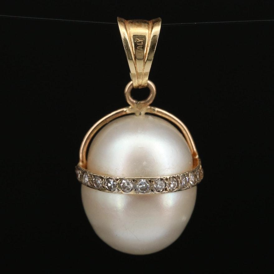 Vintage 14K Diamond and Pearl Drop Pendant