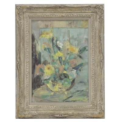 Abstract Floral Still Life Oil Painting, Late 20th Century