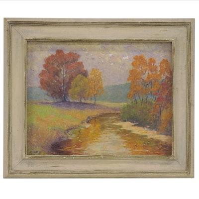 Clarence Klatt Autumnal Landscape Oil Painting, 1964