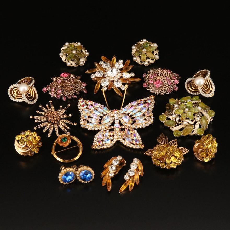 Vintage Rhinestone Earrings and Brooches Featuring Crown Trifari