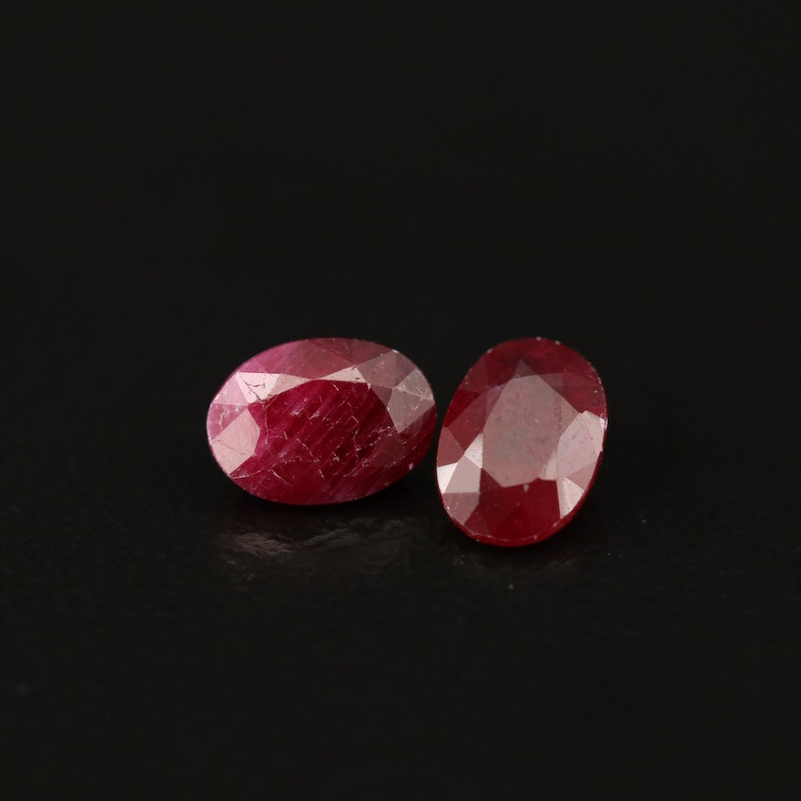 Loose 2.06 CTW Matched Pair Rubies