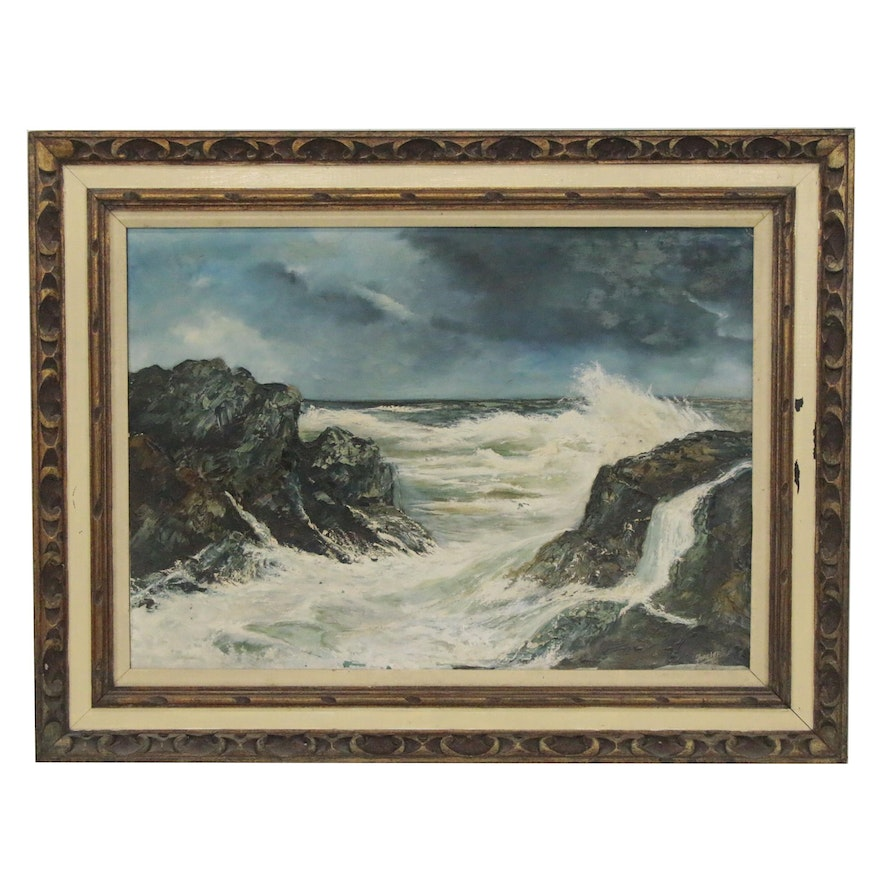 Oil Painting of Rocky Shore, Late 20th Century