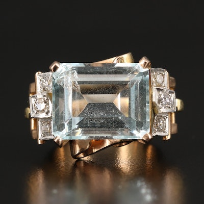 Retro 18K 13.50 CT Topaz and Diamond Ring with Platinum Accent