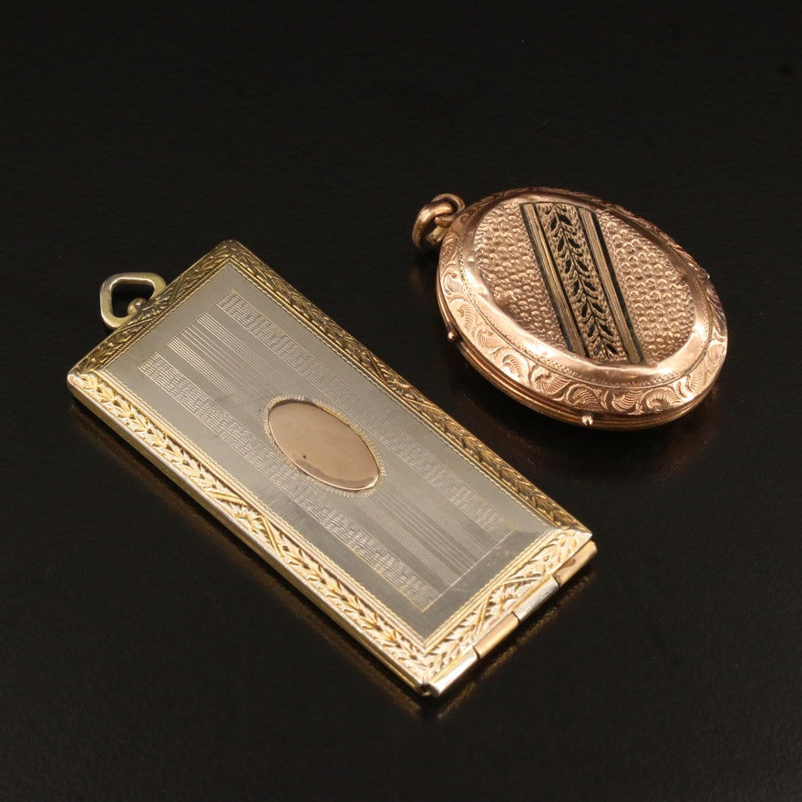Victorian Taille d'Épargne Locket and Art Deco Calling Card Case