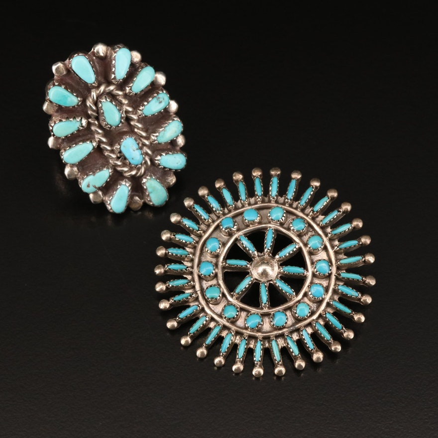 Southwestern Style Sterling Turquoise Converter Brooch and Petit Point Ring