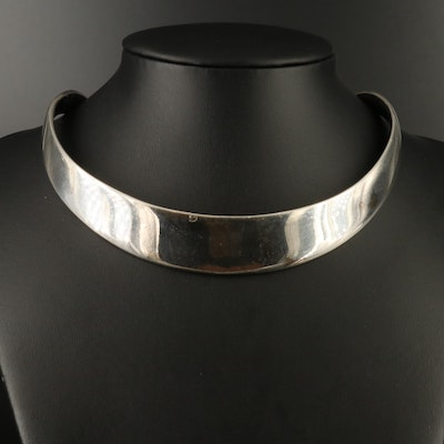 Jacob Hull Modernist Sterling Silver Collar Necklace