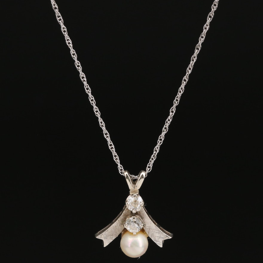 Vintage Pearl and Diamond Pendant Necklace