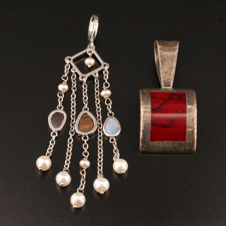 Sterling Silver Pendants Featuring Boulder Opal, Pearl and Glass Accents