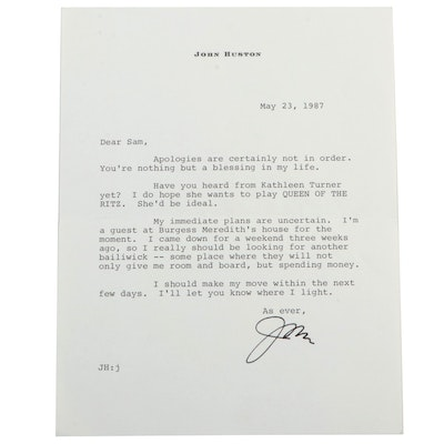 Hollywood Legendary Film Director John Huston Signed Letter to Samuel Marx