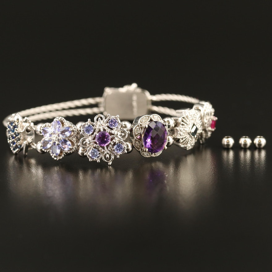 14K Amethyst and Gemstone Double Cable Slide Charm Bracelet