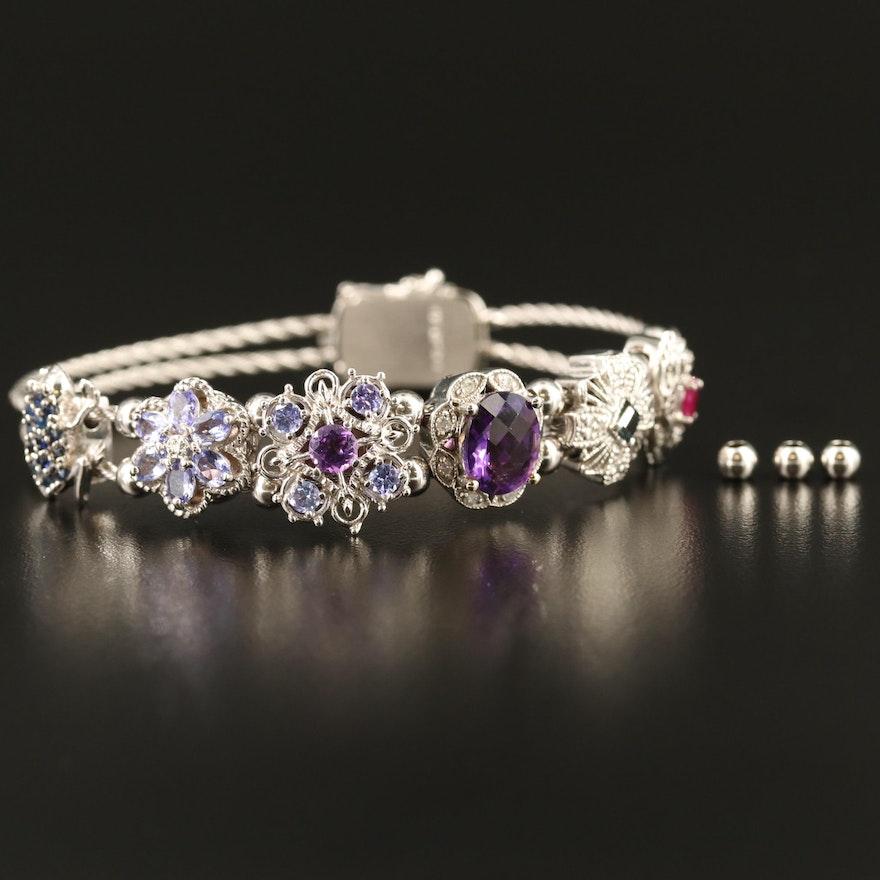 14K Amethyst and Gemstone Double Cable Slide Charm Bracelet