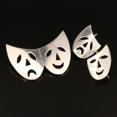 Mexican Sterling Silver Comedy and Tragedy Masks Earrings and Pendant Set