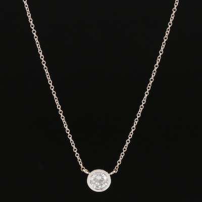 14K 0.59 CT Bezel Set Diamond Solitaire Necklace