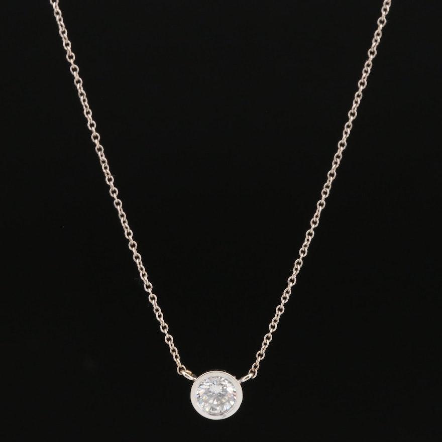 14K 0.59 CT Bezel Set Diamond Solitaire Necklace