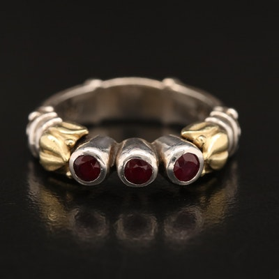 Lagos Caviar Sterling Silver Ruby Ring with 18K Accent