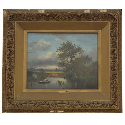 Lakeside Landscape Oil Painting, Early 20th Century