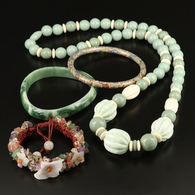 Collection of  Asian Style Jewelry Featuring Jadeite, Amethyst and Cloisonné