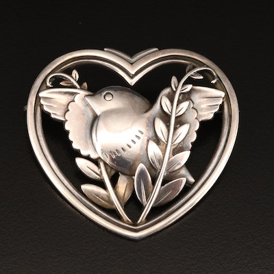 1930s Georg Jensen Sterling Dove with Olive Branch Heart Brooch