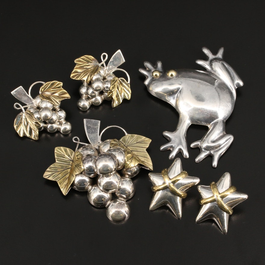 Mexican Sterling Silver Brooches and Earrings with Frog, Grape and Star Designs