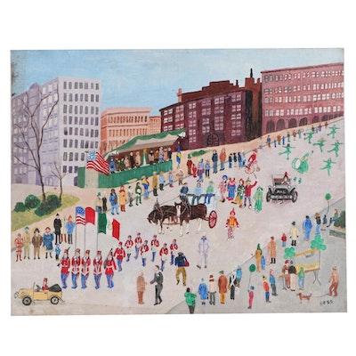 Inez Hess Folk Art Acrylic Painting of Parade Scene, Late 20th Century