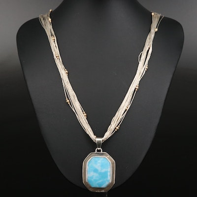 Sterling Larimar Pendant on Liquid Silver Necklace