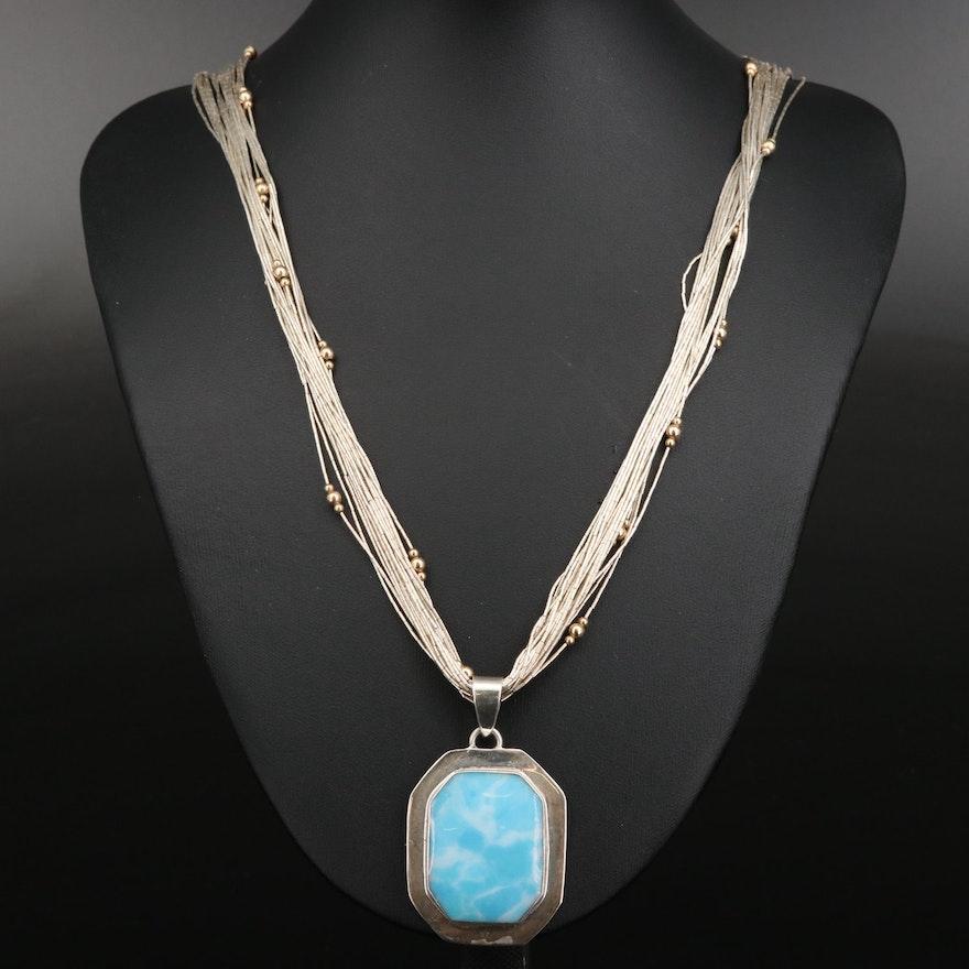 Sterling Larimar Pendant on Liquid Silver Necklace