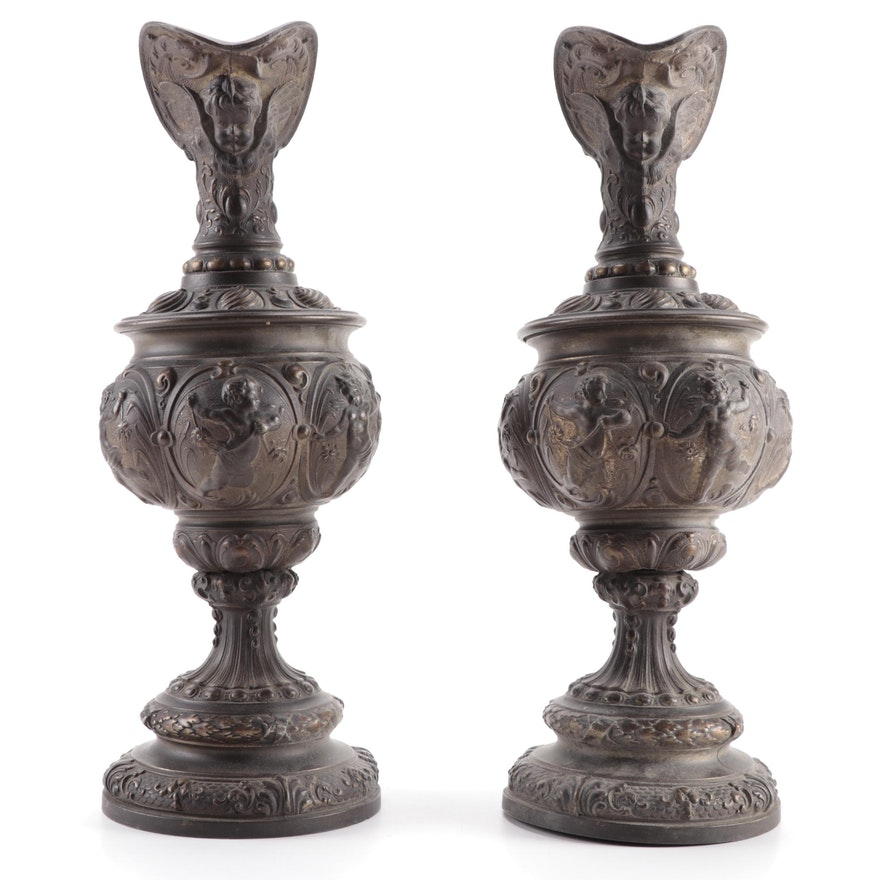 Pair of Victorian Cast Metal Ewers, Late 19th Century