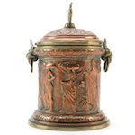 Neoclassical Repoussé  Copper and Brass Tobacco Jar, Late 19th Century