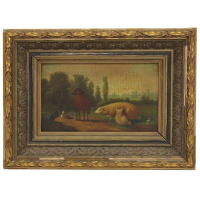 Oil Painting of Farm Animals, Early-Mid 20th Century