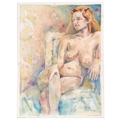 Raymond Zaplatar Figural Watercolor Painting, 2018