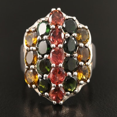 Sterling Silver Tourmaline Cluster Ring