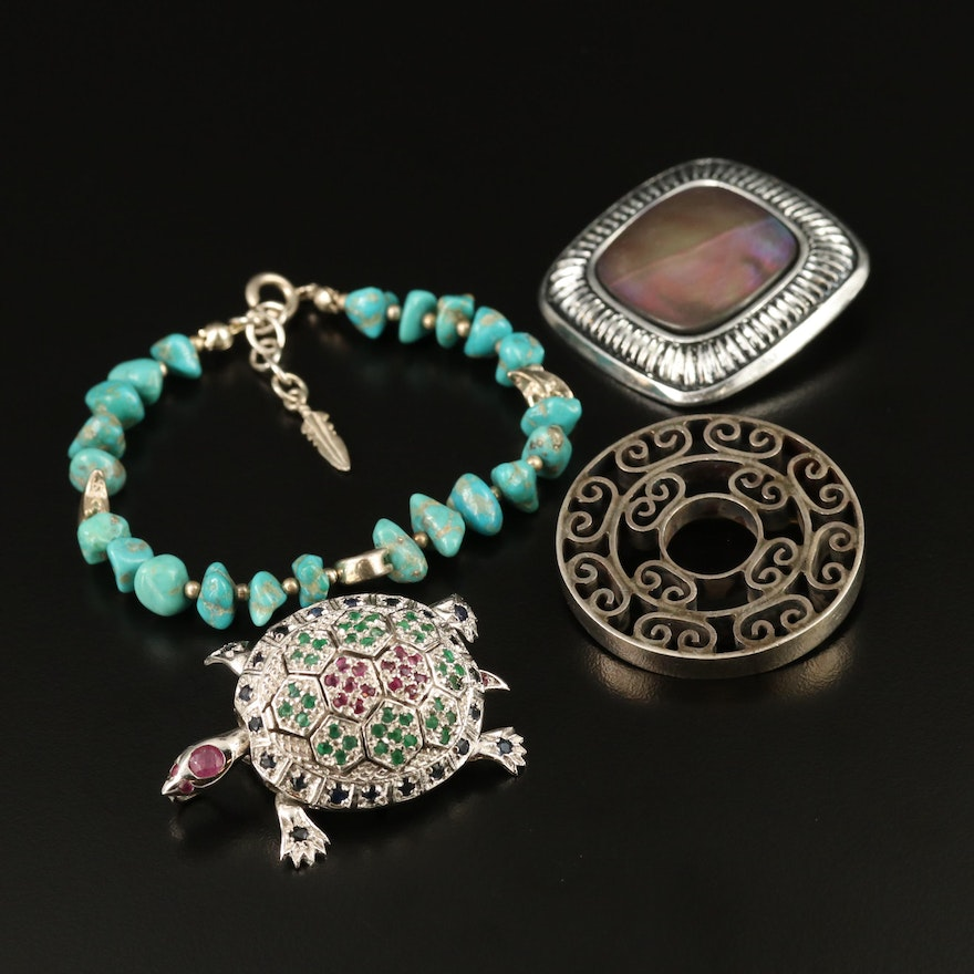 Sterling Silver Gemstone Brooches and Bracelet Including Turtle Brooch
