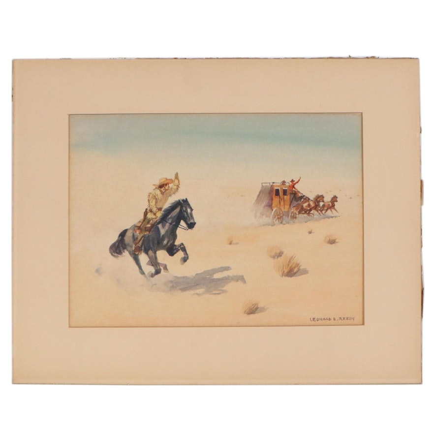 "Leonard Reedy Watercolor Painting ""Stage and Pony Express,"" Early 20th Century"