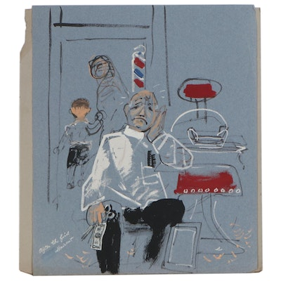 Gouache Illustration of a Barber Shop, Circa 1950