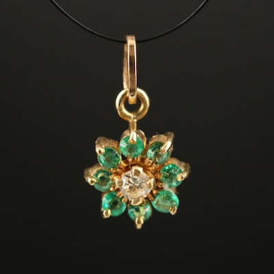 18K Topaz and Emerald Pendant