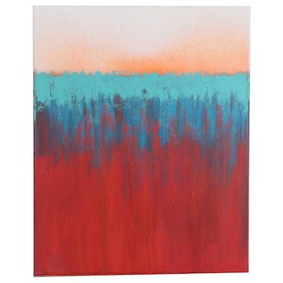 "Sanna Abstract Acrylic Painting ""Sea Green"", 2020"