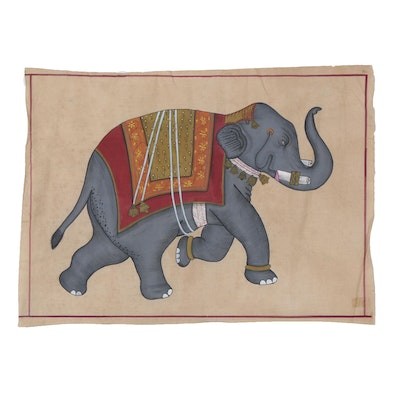 Indian Mughal Style Gouache Painting of an Elephant