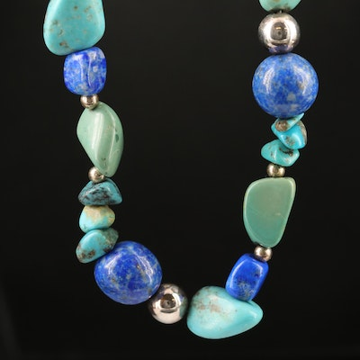 Sterling Turquoise and Lapis Lazuli Beaded Necklace