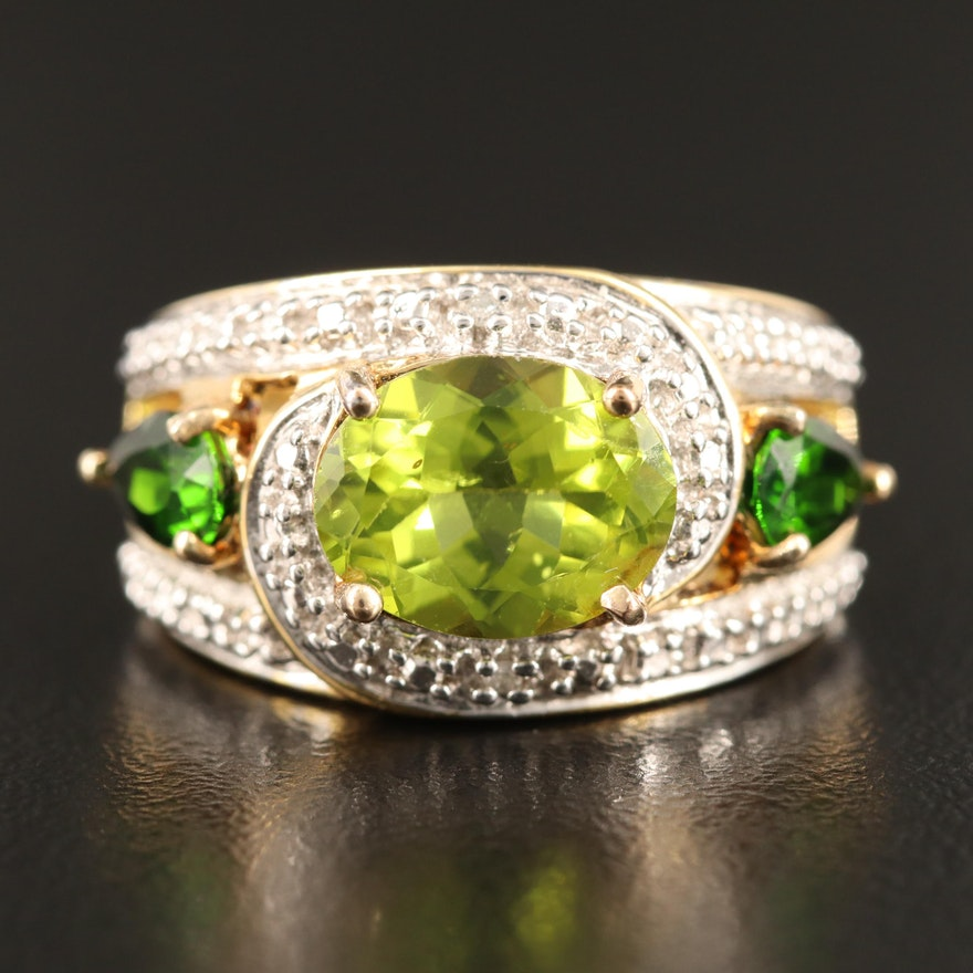 Sterling Silver Peridot, Diopside and Diamond Ring