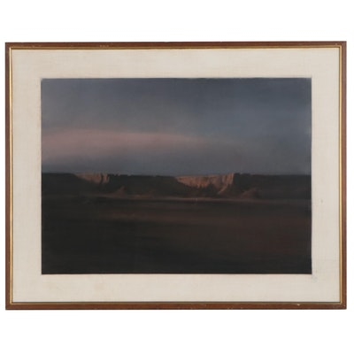 Desert Landscape Pastel Drawing, Late 20th Century