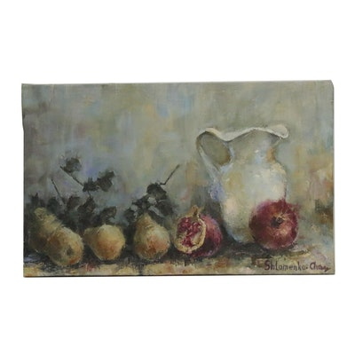 "Nataliya Shlomenko Oil Painting ""Still Life with White Jug and Pears,"" 2017"