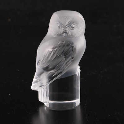 Lalique Frosted Crystal Owl Paperweight