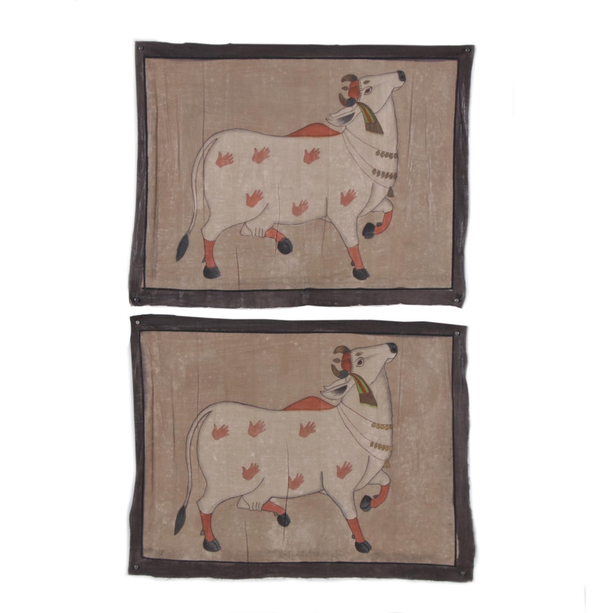 Indian Mughal Style Gouache Paintings of Holy Cows