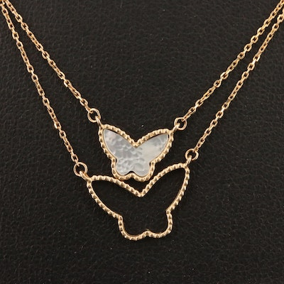14K Mother of Pearl Butterfly Necklace