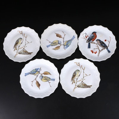 Chastagner & Cie. French Porcelain Plates with Bird Motif, Mid/Late 20th Century